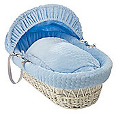 Clair de Lune White Wicker Moses Basket (Marshmallow Blue)