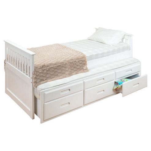 Amani Single Captain Bed with Guest Bed and Drawers - White