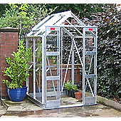 Elite Compact Greenhouse – 4 x 4 - Natural Aluminium Finish – Horticultural Glass