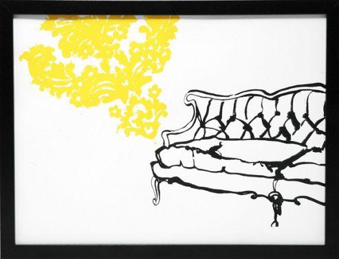 Hand printed French sofa print