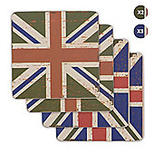 Union Jack Flag Coasters Vintage Design - 2 x Blue and 2 x Green