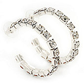 Medium Swarovski Crystal Hoop Earrings In Silver Metal - 4.5cm Diameter