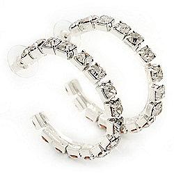 Medium Swarovski Crystal Hoop Earrings In Silver Metal - 4.5cm Diameter