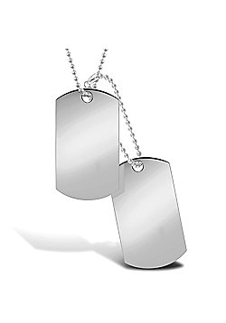 "Jewelco London 9ct Solid white Gold hand-made military style Dog Tag with 24"" + 4"" bead Chain"