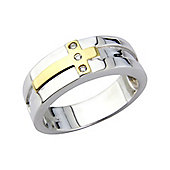 Sterling Silver with 9ct Gold Overlay Cubic Zirconia set Ring