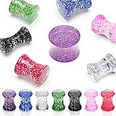 Pack of Seven Acrylic Glitter Ear Stretching Saddle Plugs Flared 12mm
