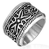Urban Male Men's Wide Medieval Design Stainless Steel Ring 18mm