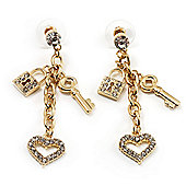 Gold Tone Crystal Heart, Key & Lock Charm Drop Earrings - 5.5cm Drop