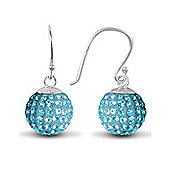 Jewelco London Sterling Silver Crystal 12mm Disco Dazzle Ball Drops Shamballa Earrings - baby blue