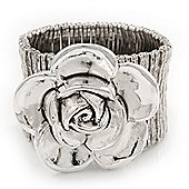 Large 'Daisy' Floral Flex Bracelet In Silver Plating - 19cm Length