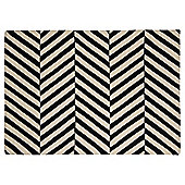 Wool Black and White Herringbone Chevron Rug 70x130cm