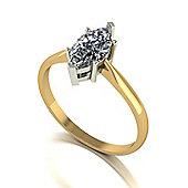 18ct Gold 10x5 Marquise Cut Moissanite Single Stone Ring