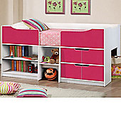 Happy Beds Paddington Cabin Bed 3ft Wooden Pink and White Drawers Kids Luxury Spring Mattress