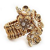 Vintage Cluster Flower Stretch Cocktail Ring (Burn Gold) - Size 6/7