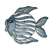 Large Metalic Blue Nautical Fish Themed Wall Art for the Garden or Home