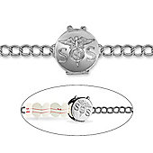 Jewelco London Sterling Silver S.O.S. Emergency Medical Awareness Locket Charm Bracelet