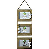 Triple Driftwood 3 Photo Hanging Picture Frame With White Hearts - 6 x 4""