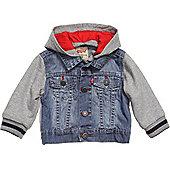 Levis Boys Denim & Jersey Hooded Jacket - Trucker Cliffy Design-Indigo-3-18Mths - Blue