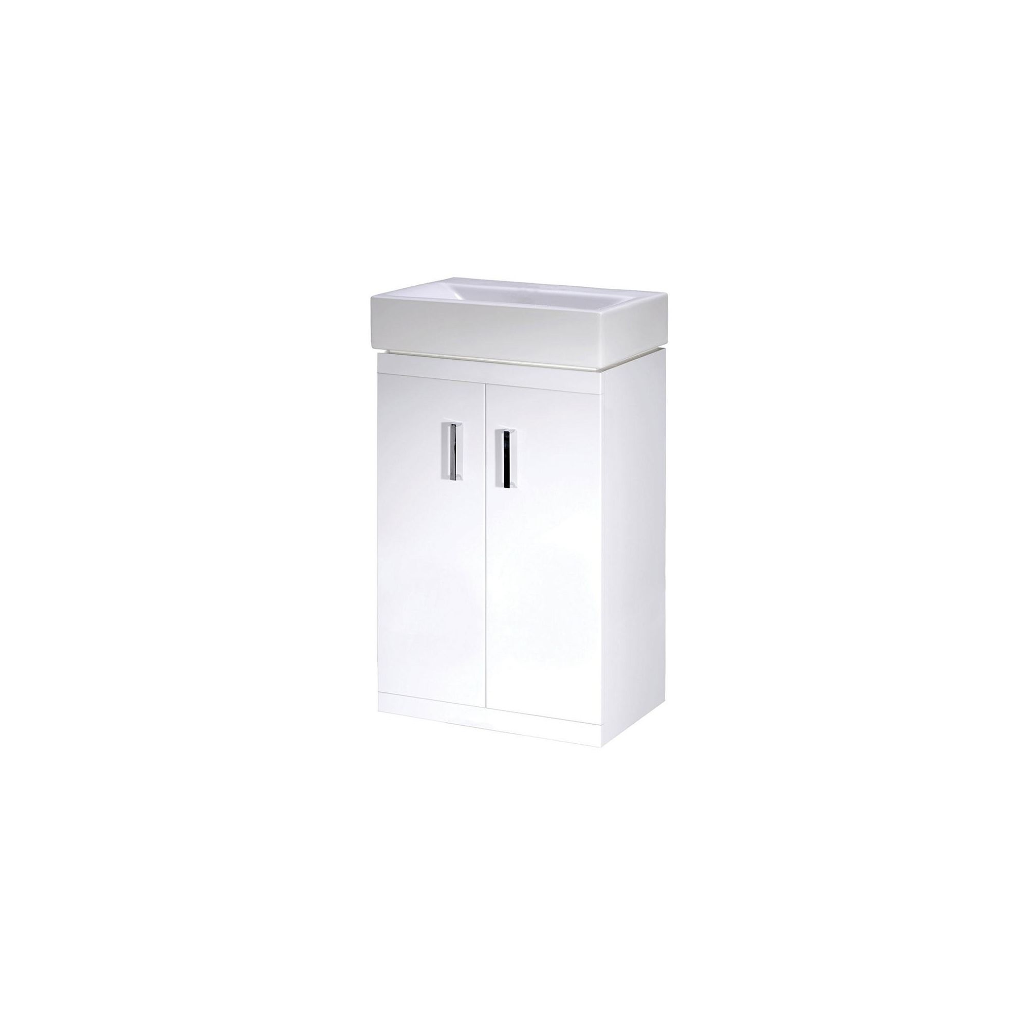 Premier Checkers Floor Standing Minimalist Basin Vanity Unit White 450mm Deep