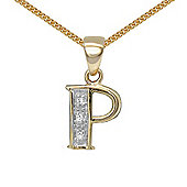 Jewelco London 9 Carat Yellow Gold Elegant Diamond-Set Pendant on an 18 inch Pendant Chain Necklace - Inital P