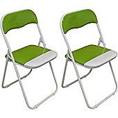 2 x Green and White Padded Folding Chair - Great for, Office, Desk, Poker, Spare