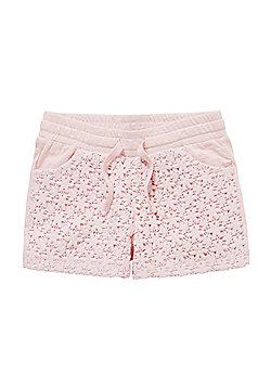 F&F Lace Panel Sweat Shorts - Pink