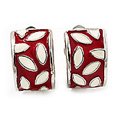Small C-Shape Red/White Enamel Clip On Earring In Rhodium Plated Metal