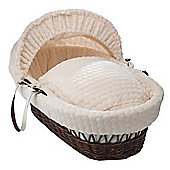 Clair de Lune Dark Wicker Moses Basket (Marshmallow Cream)