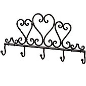 Heart - Metal Traditional 5 Hook Wall Rack - Brown