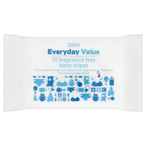 Tesco Everyday Value Fragrance Free Baby Wipes - 72 Wipes
