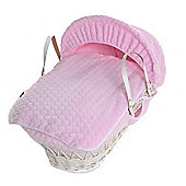 Isabella Alicia White Wicker Moses Basket (Bubble Pink)