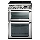 Hotpoint HUE62XS, 60cm, Inox, Electric Cooker, Double Oven