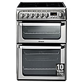 Hotpoint HUE62XS, Inox Stainless Steel, Electric Cooker, Double Oven, 60cm