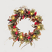 50cm/20in Green Pine & Red Berry Pre Lit Wreath