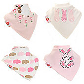 Zippy Fun Bandana Dribble Bibs for Baby Girls and Toddlers (4 Pack Gift Set) Cute Pink