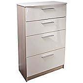 Altruna Chester 4 Drawer Chest - Cream / Light Oak