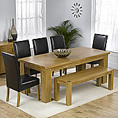 Mark Harris Furniture Barcelona Solid Oak Dining Table with Rustique Chairs and Barcelona Bench