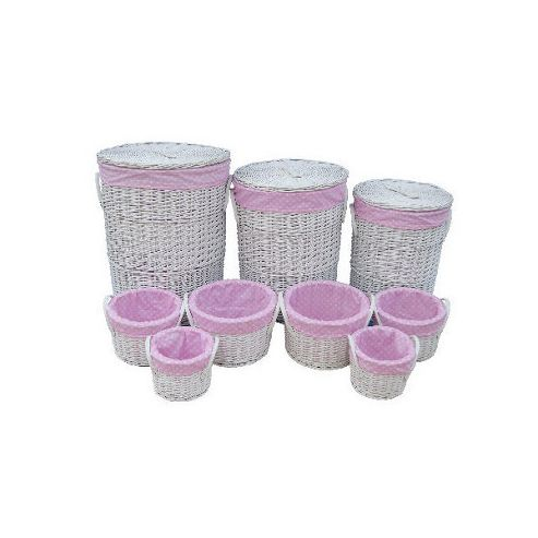 Wicker Valley Round Laundry and Storage in Pink Spot (Set of 9)