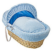 Clair de Lune Natural Wicker Moses Basket (Marshmallow Blue)
