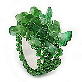 Apple Green Semiprecious Chip Cluster Flex Ring