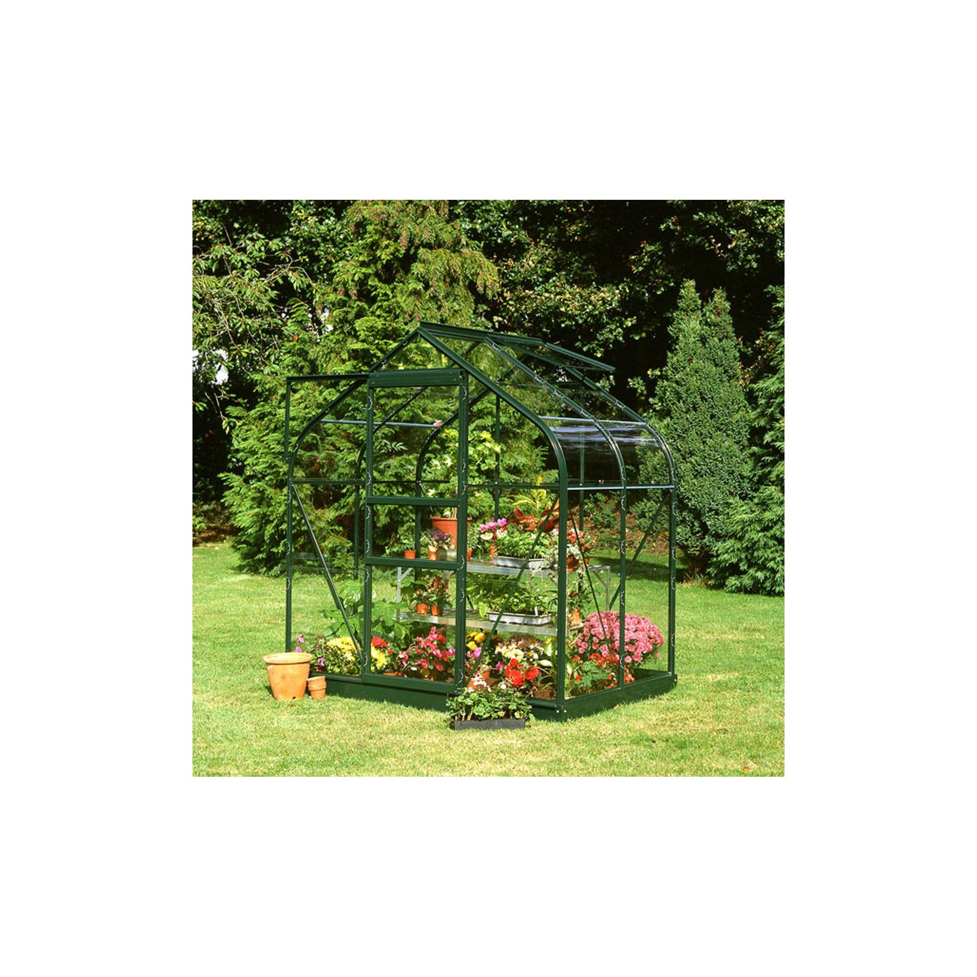 Halls 4x6 Supreme Greenframe Greenhouse + Base - Horticultural Glass at Tescos Direct
