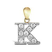 9ct Yellow Gold Cubic Zirconia Initial Charm Identity Pendant - Letter K