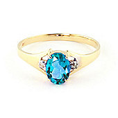 QP Jewellers Diamond & Blue Topaz Oval Desire Ring in 14K Gold