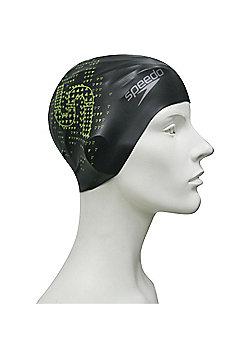 Speedo Monogram Reversible Senior Silicone Swimming Cap - Black