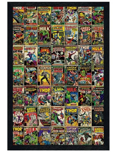 Book Cover Collage Poster ~ Buy black wooden framed marvel comics comic book cover