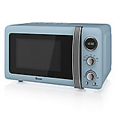 800W Retro Digital Microwave Blue