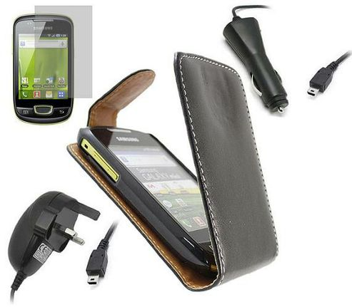 iTALKonline Black Flip Case, LCD Screen Protector, Car Charger and Mains Charger - For Samsung S5570 Galaxy Mini