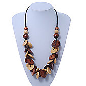 Brown/ Sandy Wood 'Button' Cluster Cotton Cord Necklace - 70cm Length