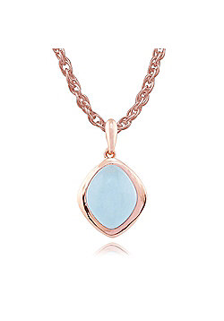 Gemondo Blue Jade 'Tweedia' Pastel Pendant Necklace in 9ct Rose Gold Plated Sterling Silver