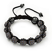 Dim Grey Swarovski Crystal Balls Shamballa Bracelet - 10mm - Adjustable
